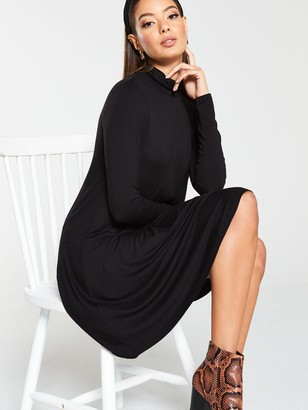 Very Roll Neck Fit & Flare Dress - Blacl