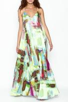 Nicole Miller Watercolor Print Maxi Dress