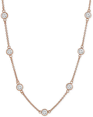 "Giani Bernini Cubic Zirconia Bezel-Set Necklace in 18k Gold-Plated Sterling Silver & Sterling Silver, 16"" + 2"" Extender"