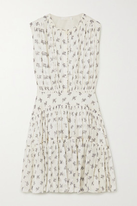 Chloé Floral-print Silk-georegette Mini Dress - White