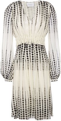 Giambattista Valli Shirred Polka-dot Silk-georgette Dress