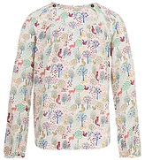 Fat Face Girls' Long Sleeved Woodland Blouse, Natural
