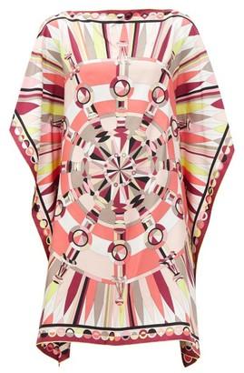 Emilio Pucci Geometric-print Silk-satin Kaftan - Pink Print
