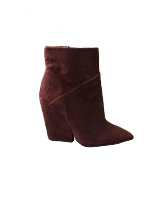IRO Burgundy Suede Ankle boots