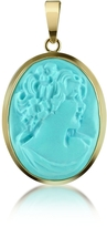 Del Gatto Woman Turquoise Paste Cameo Pendant