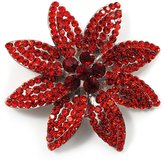Avalaya Carrot Red Swarovski Crystal Bridal Corsage Brooch (Silver Tone)