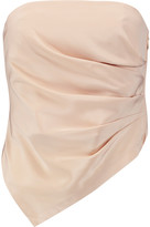 Tibi Asymmetric ruched silk-satin top