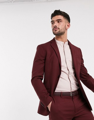 Topman skinny fit suit jacket in burgundy