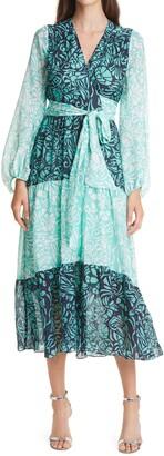 Tanya Taylor Liza Long Sleeve Tie Waist Silk Midi Dress