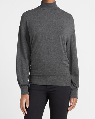 Express Heathered Mock Neck Cinched Side Sweatshirt