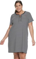 Chaps Plus Size T-Shirt Dress with Lace Up Neck Detail