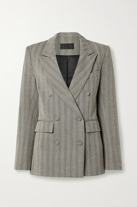 RtA Clark Double-breasted Herringbone Woven Blazer - Light gray