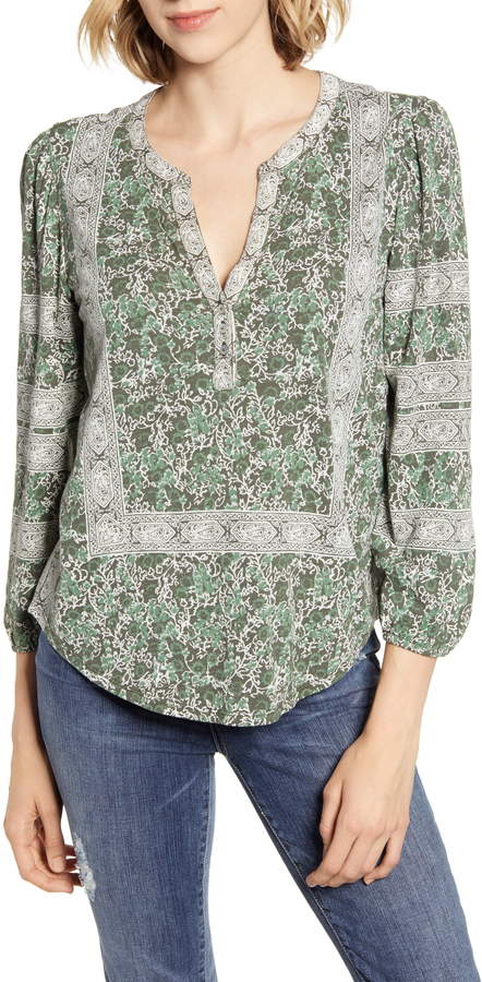 Lucky Brand Print Balloon Sleeve Cotton Top