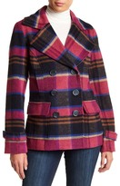 KUT from the Kloth Katherine Double Breasted Plaid Wool Blend Peacoat
