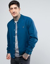 Farah Bellinger Nylon Bomber Jacket in Blue