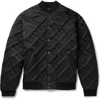Balenciaga Oversized Logo-Embossed Satin Bomber Jacket