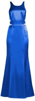 Aidan Mattox Liquid Satin Cutout Column Gown