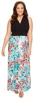 London Times Plus Size Hydrangia Mix Halter Maxi Dress