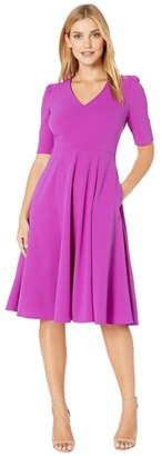 Donna Morgan V-Neck Fit and Flare Crepe Dress (Orchid) Women's Dress