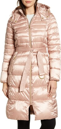Cole Haan Water Resistant Belted Quilted Coat