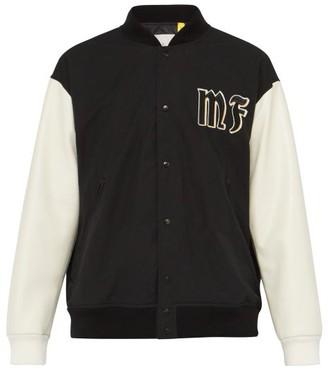 7 Moncler Fragment - Logo-applique Contrast-panel Cotton Bomber Jacket - Black Multi