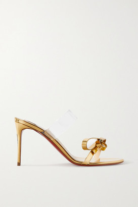 Christian Louboutin Just Nodo 85 Mirrored-leather And Pvc Sandals - Gold