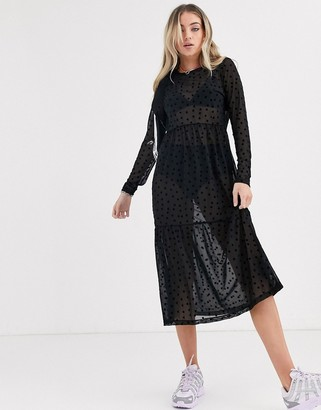 Noisy May mesh smock midi dress with star embroidery-Black
