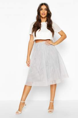 boohoo Sequin Top And Contrast Midi Skirt Co-Ord