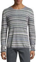 John Varvatos Striped Linen Crewneck Sweater, Blue/Multicolor