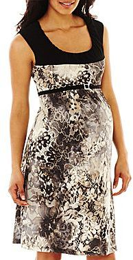 JCPenney Maternity Sleeveless Belted Print Dress
