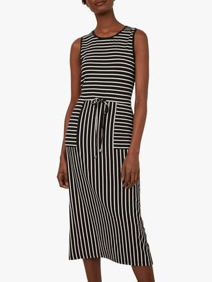 Warehouse Drawstring Stripe Dress, Black