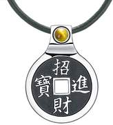 BestAmulets Feng Shui Lucky Coin Amulet Kanji Magic Fortune Powers Unique Charm Tiger Eye Leather Pendant Necklace
