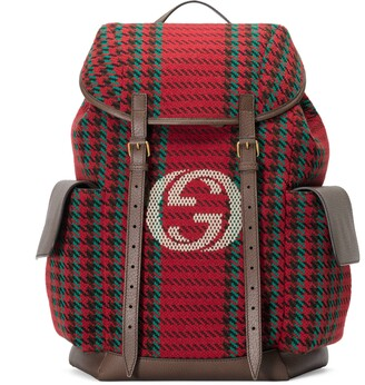 Gucci Houndstooth and stripe backpack with Inerlocking G