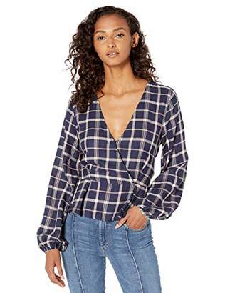 Somedays Lovin Women's Plaid Long Sleeve TIE WRAP TOP