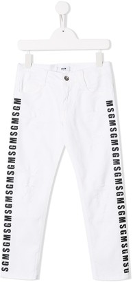 Msgm Kids Logo Print Distressed Jeans