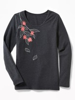 Old Navy Fitted Embroidered-Graphic Ballet-Neck Top for Girls