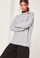 Missguided Seam Detail Sweatshirt Grey