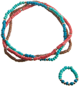Carole Blue & Coral Beaded Stretch Anklet & Stretch Toe Ring Set