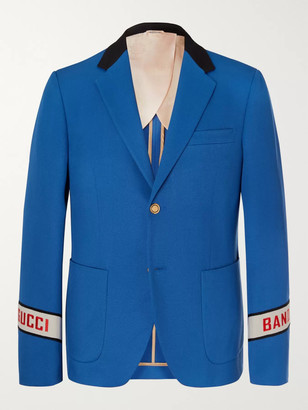 Gucci Blue Cambridge Logo-Embroidered Cotton-Twill Suit Jacket - Men - Blue