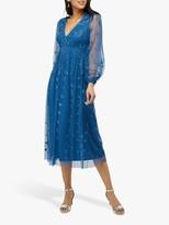 Monsoon Lucinda Embroidered Midi Dress, Blue