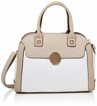 BESSIE LONDON Womens Woven Bag With Gold Circle Clip Tote White (White) 12x27x36 cm (W x H x L)