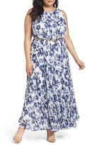Eliza J Plus Size Women's Belted Floral Maxi Dress