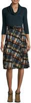 Robbie Bee 3/4 Sleeve Plaid Fit & Flare Dress-Petites