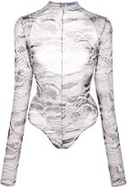 Thierry Mugler Marble Cut-Out Body Suit
