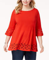 Belldini Plus Size Laser Cut Tunic