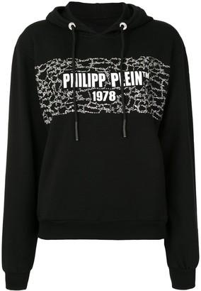 Philipp Plein PP 1978 print stud detail hoodie