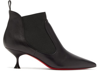 Christian Louboutin Carnavague Kitten-heel Leather Ankle Boots - Womens - Black