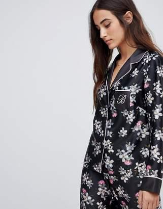 Ted Baker Sunlit Floral Print Revere Pajama Top-Black