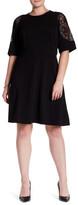 London Times Elbow Sleeve Lace Shoulder Dress (Plus Size)