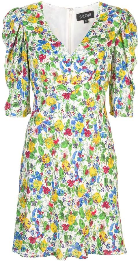 Saloni Colette floral print dress